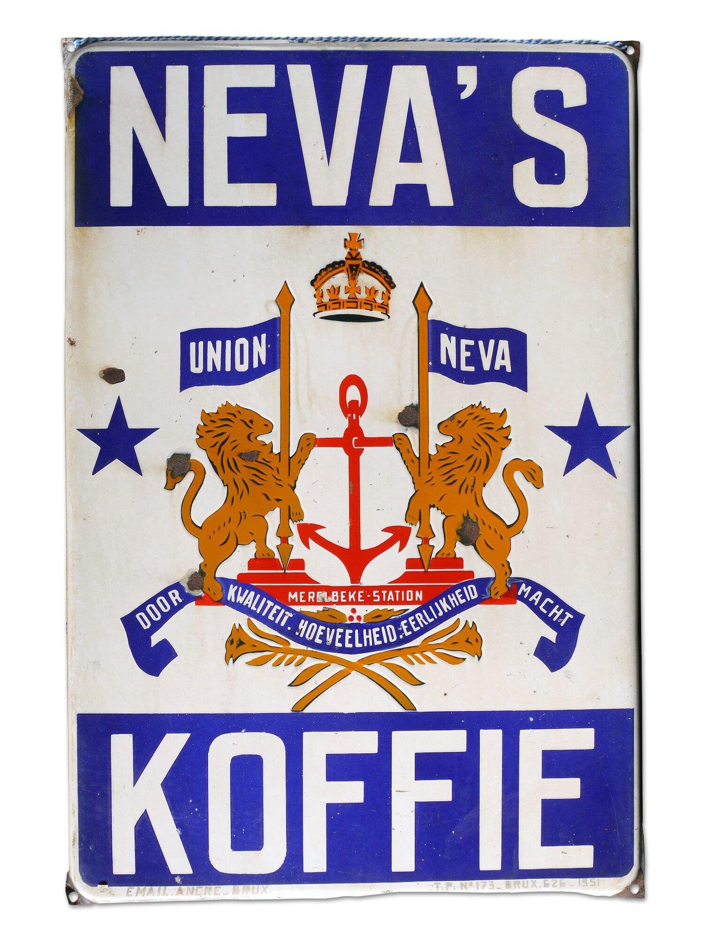 Geëmailleerd reclamebord voor Neva's Koffie