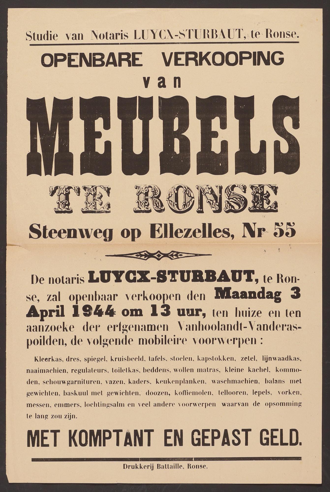 Affiche betreffende openbare verkoping van meubels