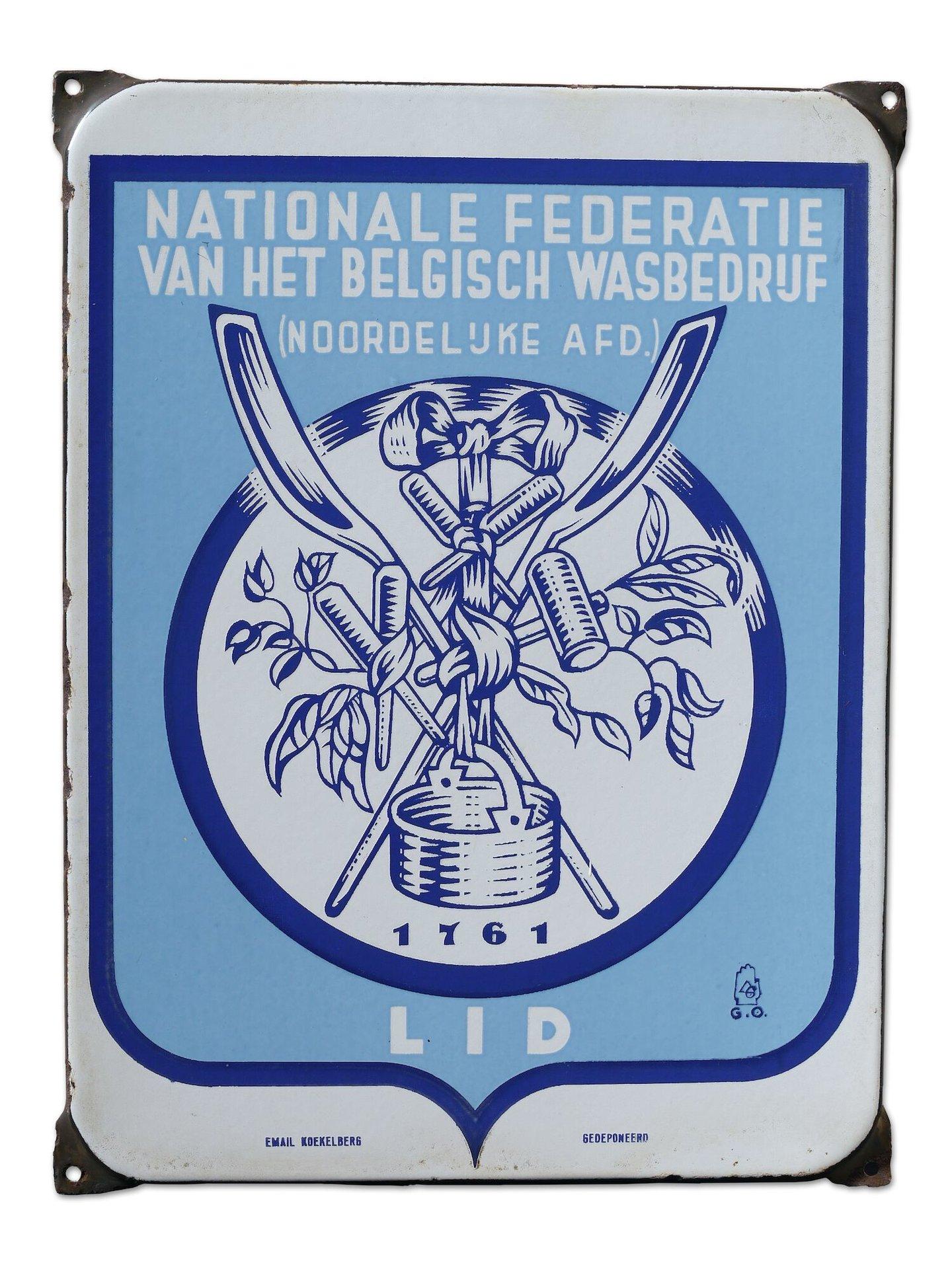 Geëmailleerd informatiebord van de Nationale Federatie van het Belgisch Wasbedrijf