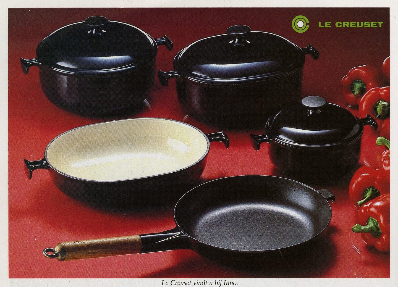 Reclame voor kookpotten en braadpannen van het merk Le Creuset