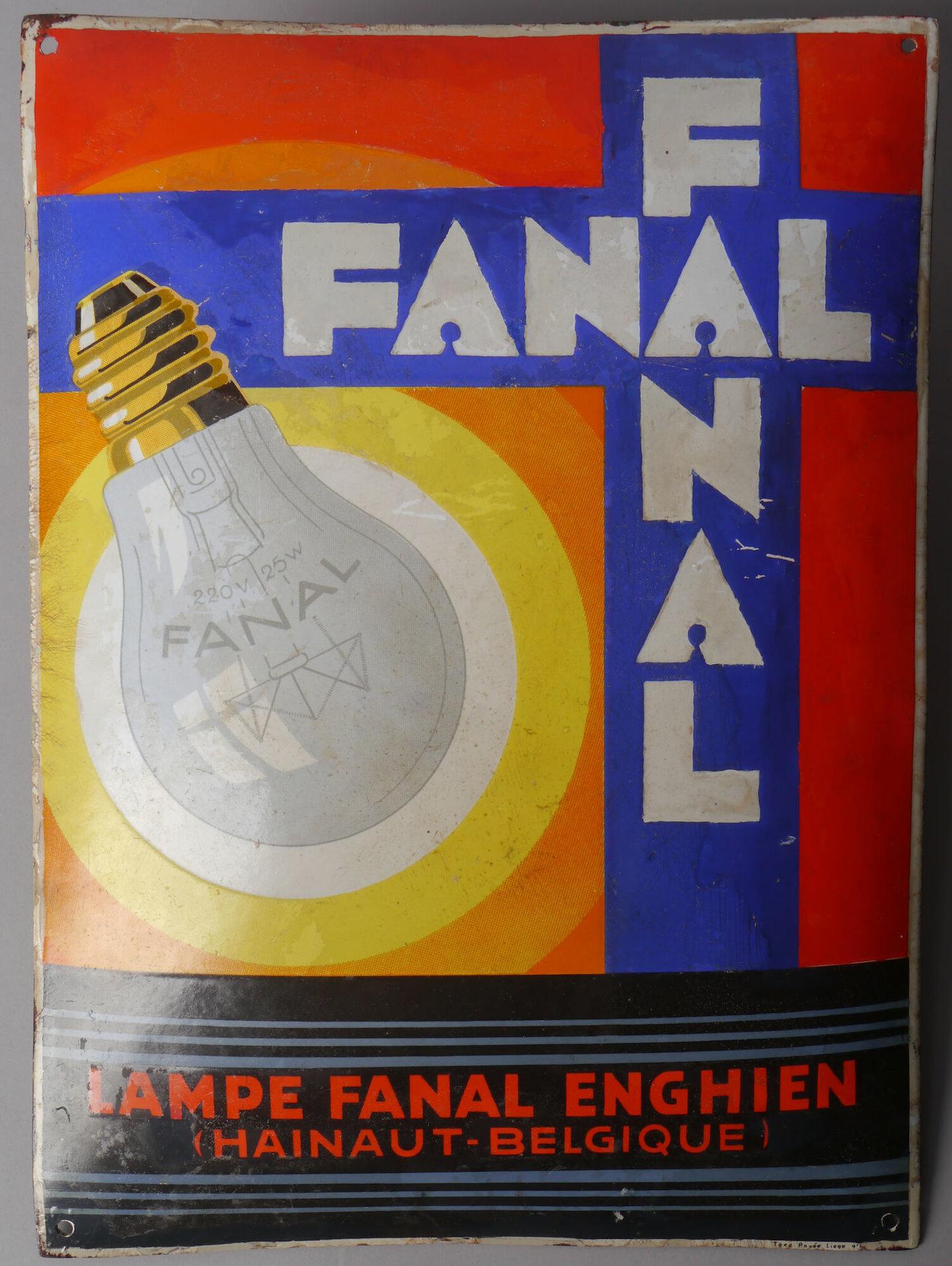 Geëmailleerd reclamebord voor lampen van het merk Fanal