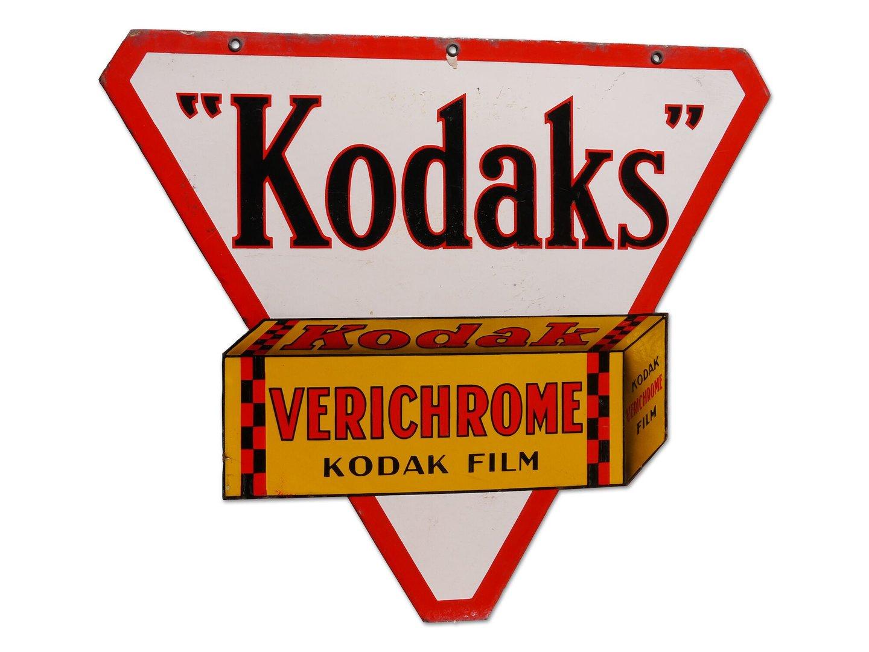 Geëmailleerd reclamebord voor filmrolletjes van het merk Kodak