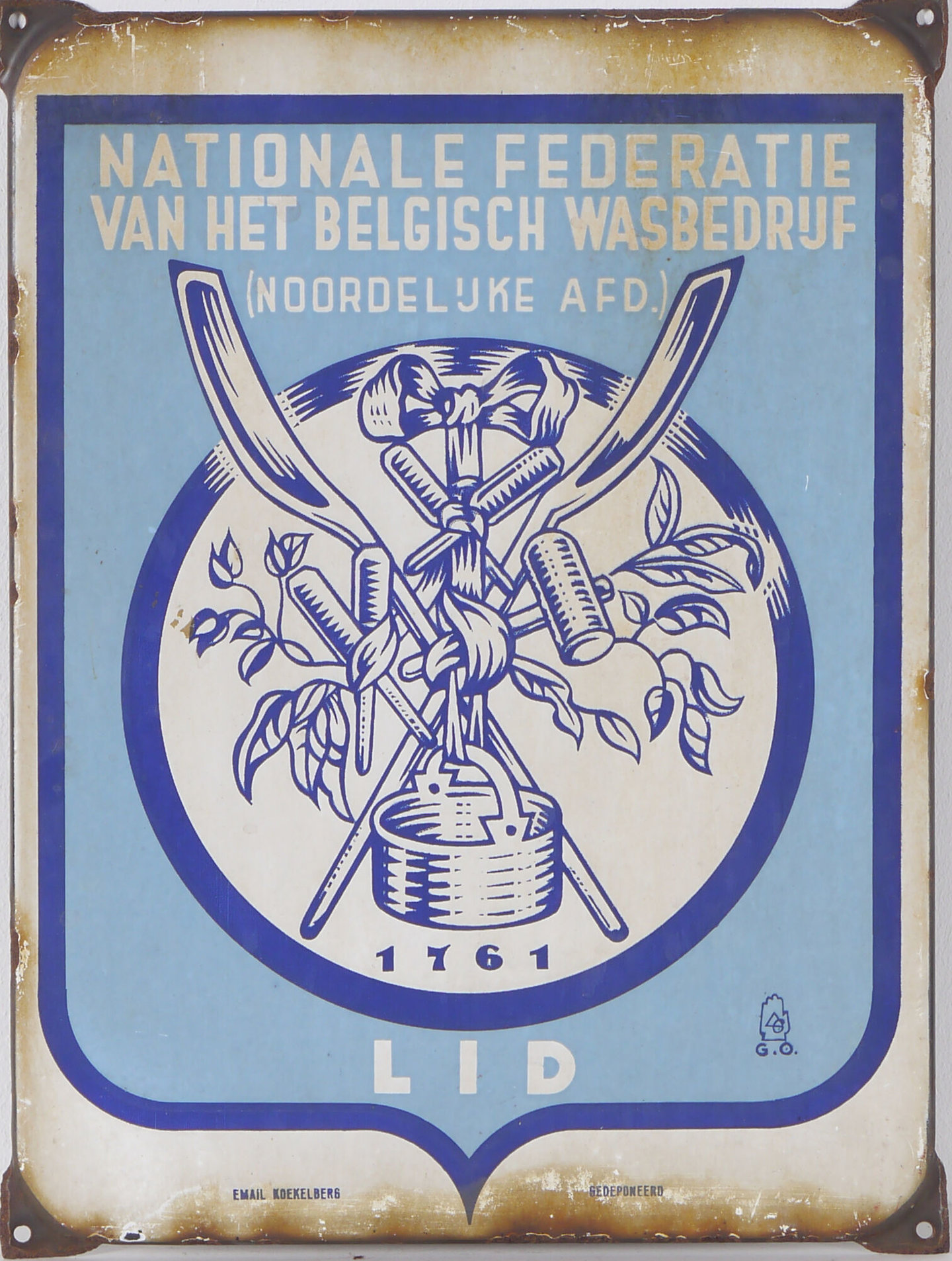 Geëmailleerd informatiebord voor de Federatie van het Belgisch Wasbedrijf