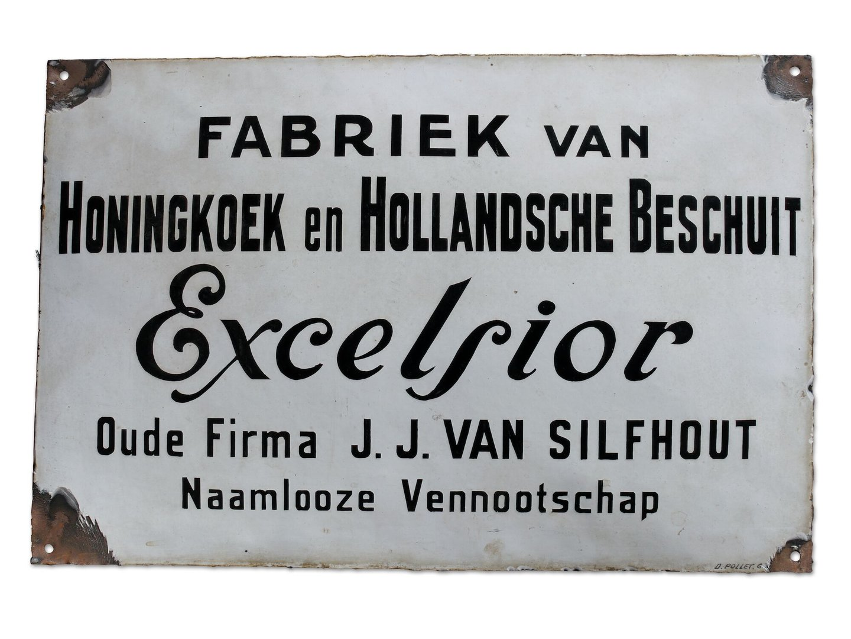 Geëmailleerd firmabord van het bedrijf Excelsior