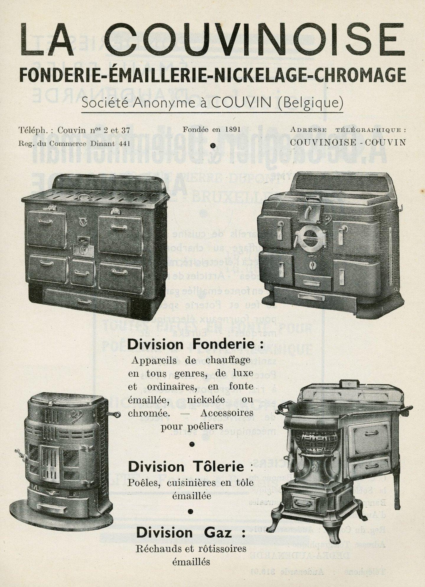 Reclame voor kachels van het merk La Couvinoise