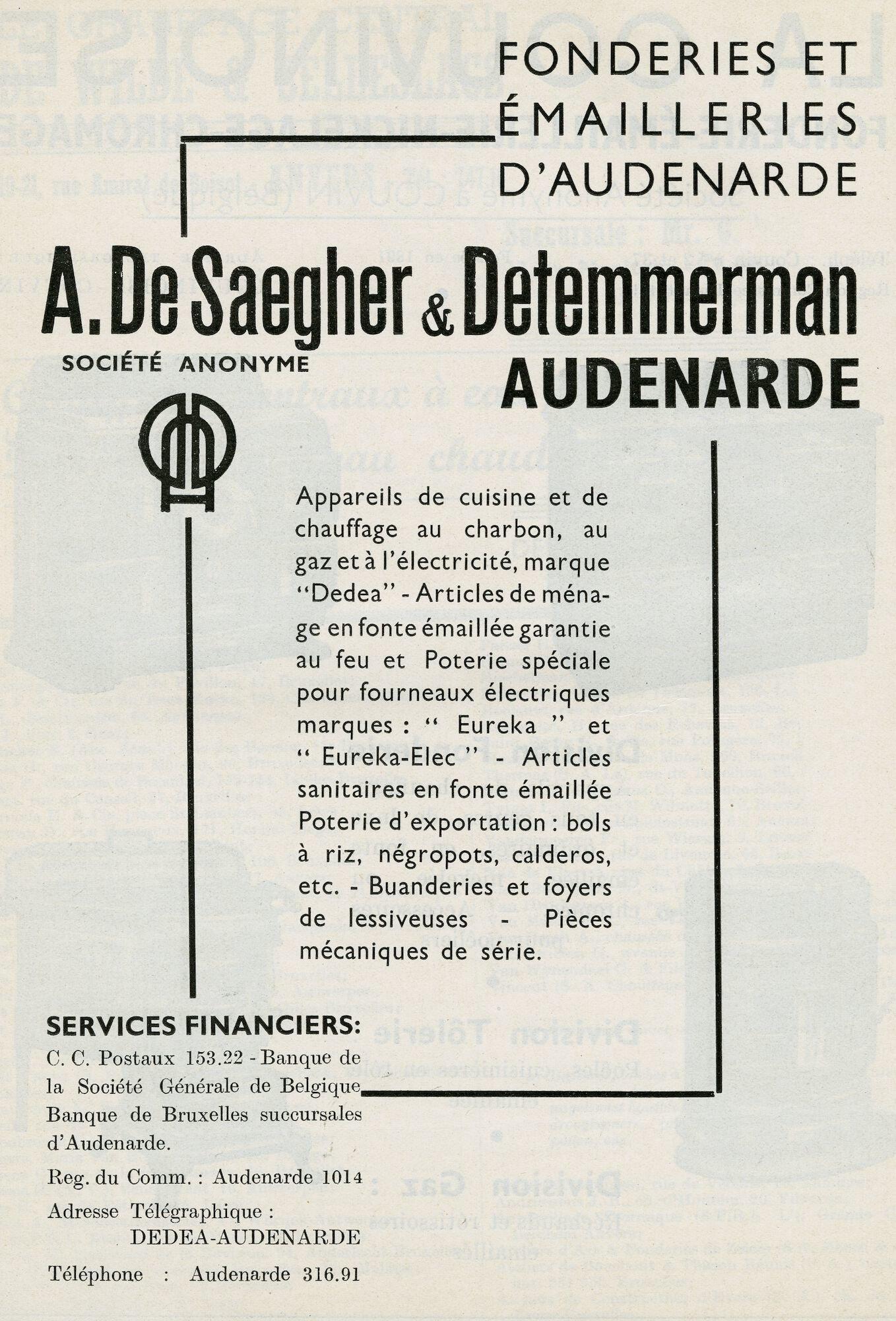 Reclame voor metaalbewerkingsbedrijf De Saegher & Detemmerman