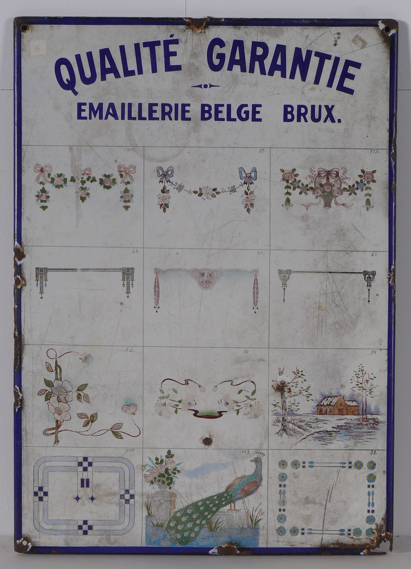 Geëmailleerd reclamebord voor Emaillerie Belge