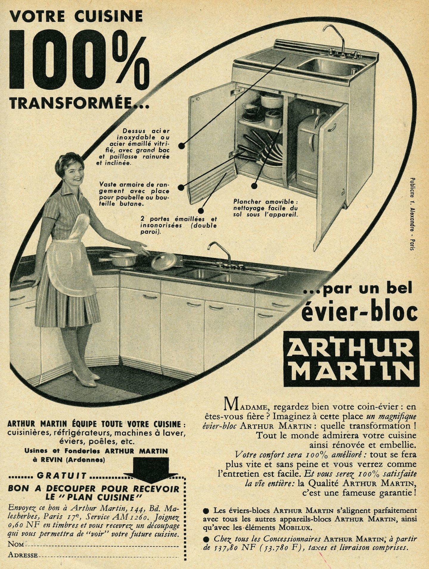 Reclame voor keukenmeubel van het merk Arthur Martin