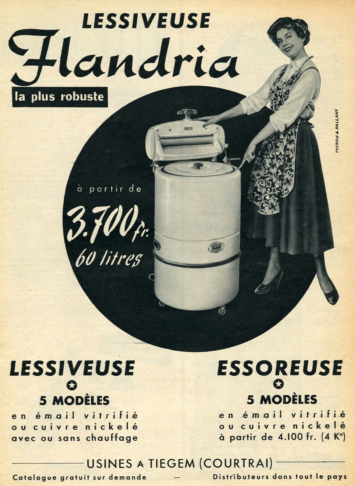 Reclame voor wasmachines van het merk Flandria