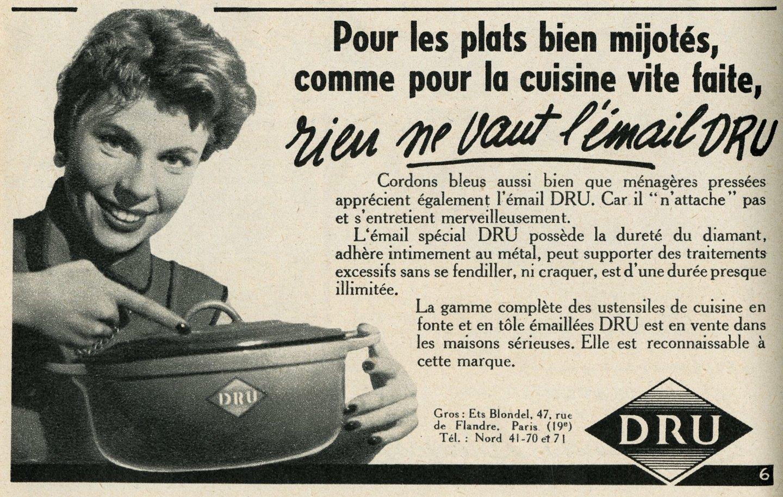 Reclame voor kookpotten van het merk Dru