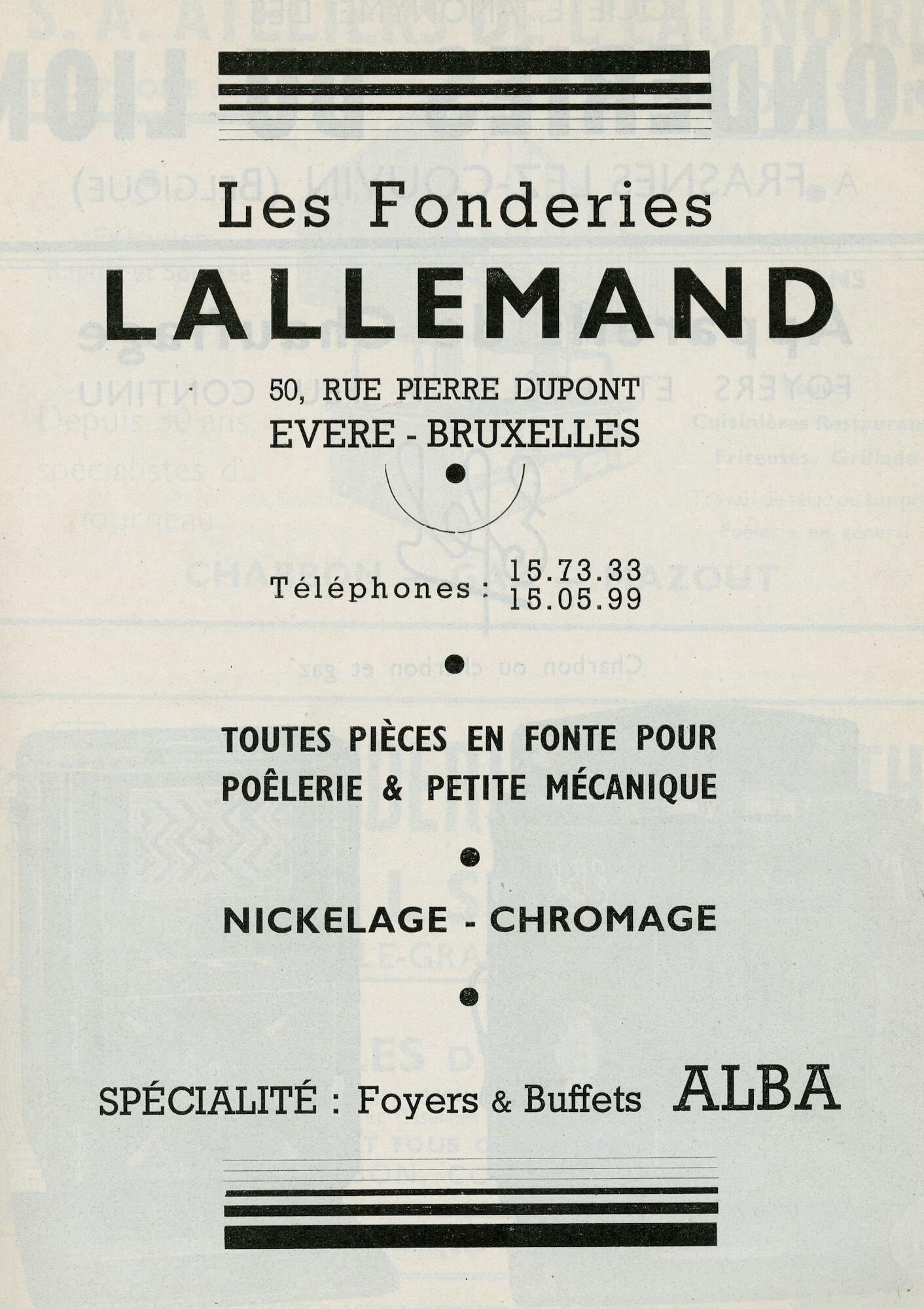 Reclame voor metaalbewerkingsbedrijf Lallemand