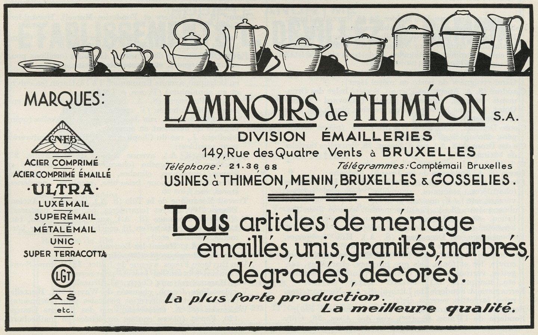 Reclame voor artikelen van metaalbewerkingsbedrijf  Laminoirs de Thiméon