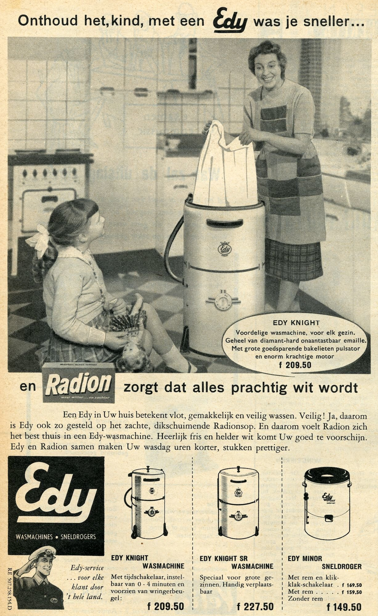 Reclame voor wasmachine van het merk Edy en Radion waspoeder