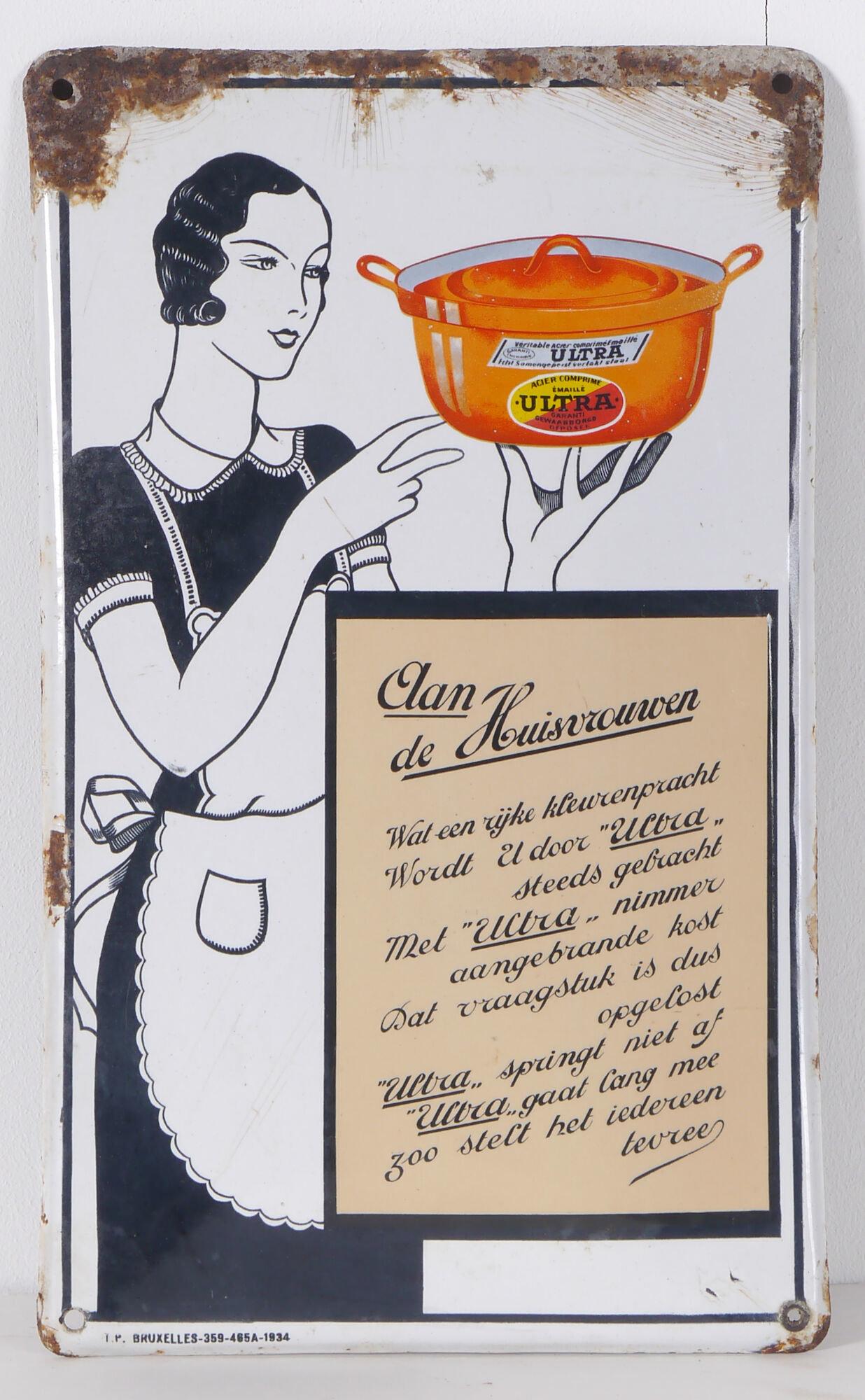 Geëmailleerd reclamebord voor kookpotten van Ultra