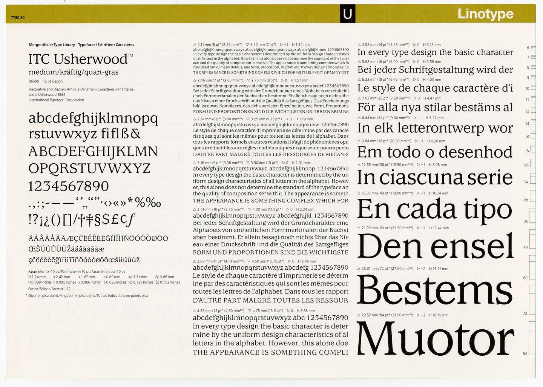 Letterproef met het lettertype ITC Usherwood voor Linotype