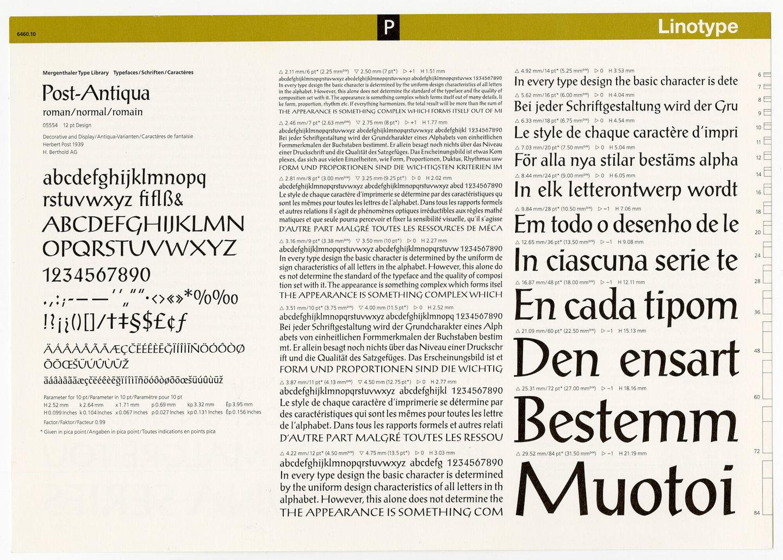 Letterproef met het lettertype Post-Antiqua voor Linotype