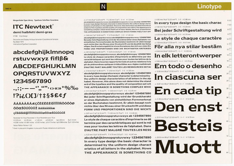 Letterproef met het lettertype ITC Newtext voor Linotype