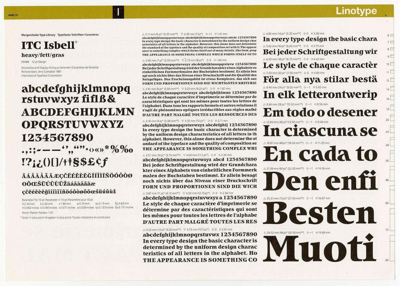 Letterproef met het lettertype ITC Isbell voor Linotype