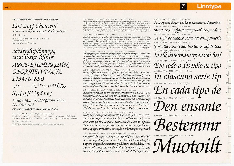 Letterproef met het lettertype ITC Zapf Chancery voor Linotype