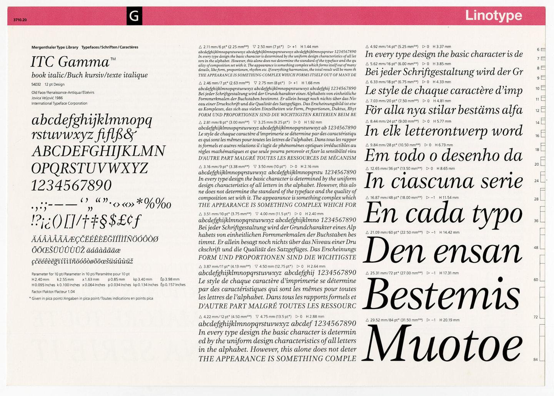 Letterproef met het lettertype ITC Gamma voor Linotype
