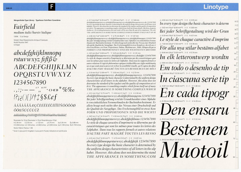 Letterproef met het lettertype Fairfield voor Linotype
