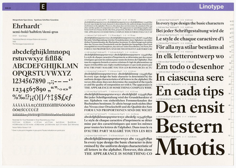 Letterproef met het lettertype Ehrhardt voor Linotype