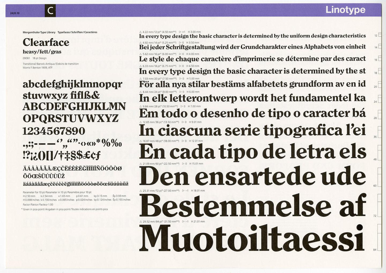 Letterproef van het lettertype Clearface voor Linotype