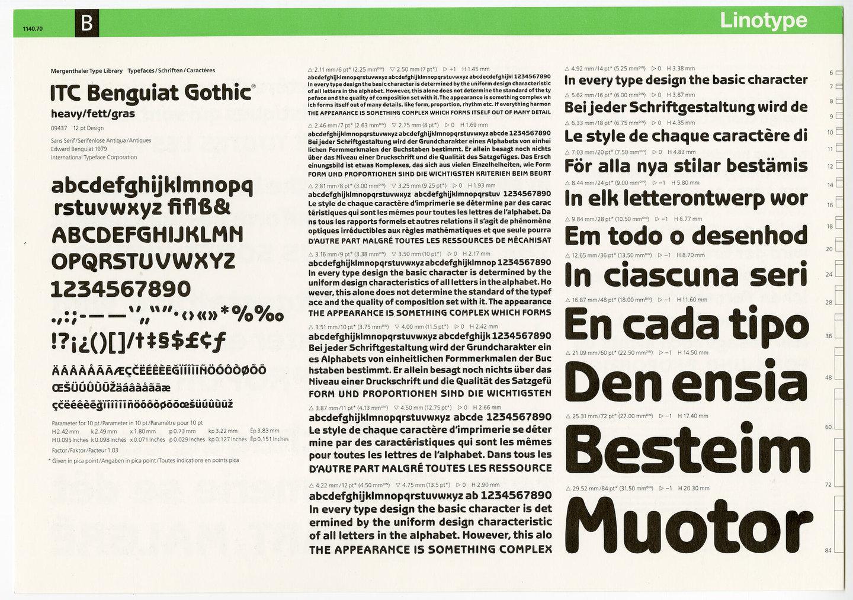 Letterproef met het lettertype ITC Benguiat Gothic voor Linotype