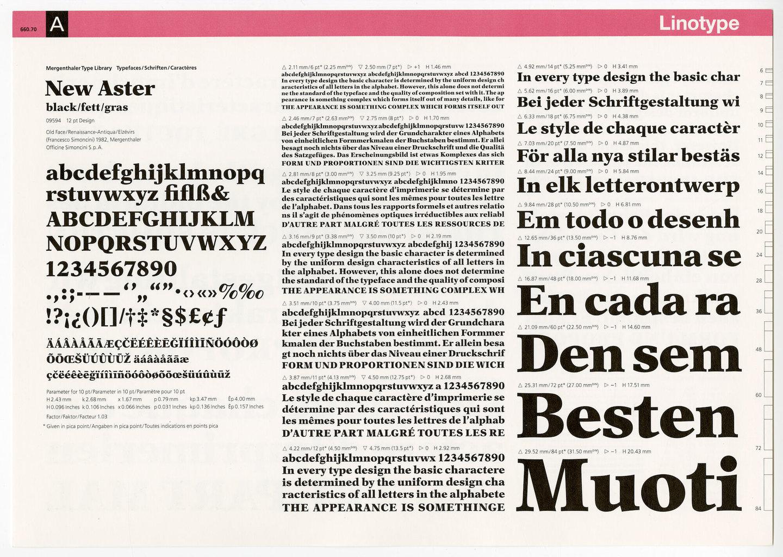 Letterproef met het lettertype New Aster voor Linotype