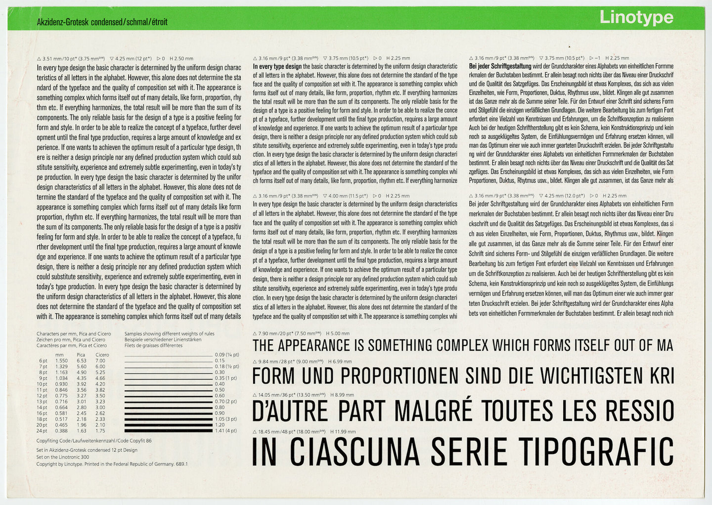Letterproef met het lettertype Akzidenz-Grotesk voor Linotype