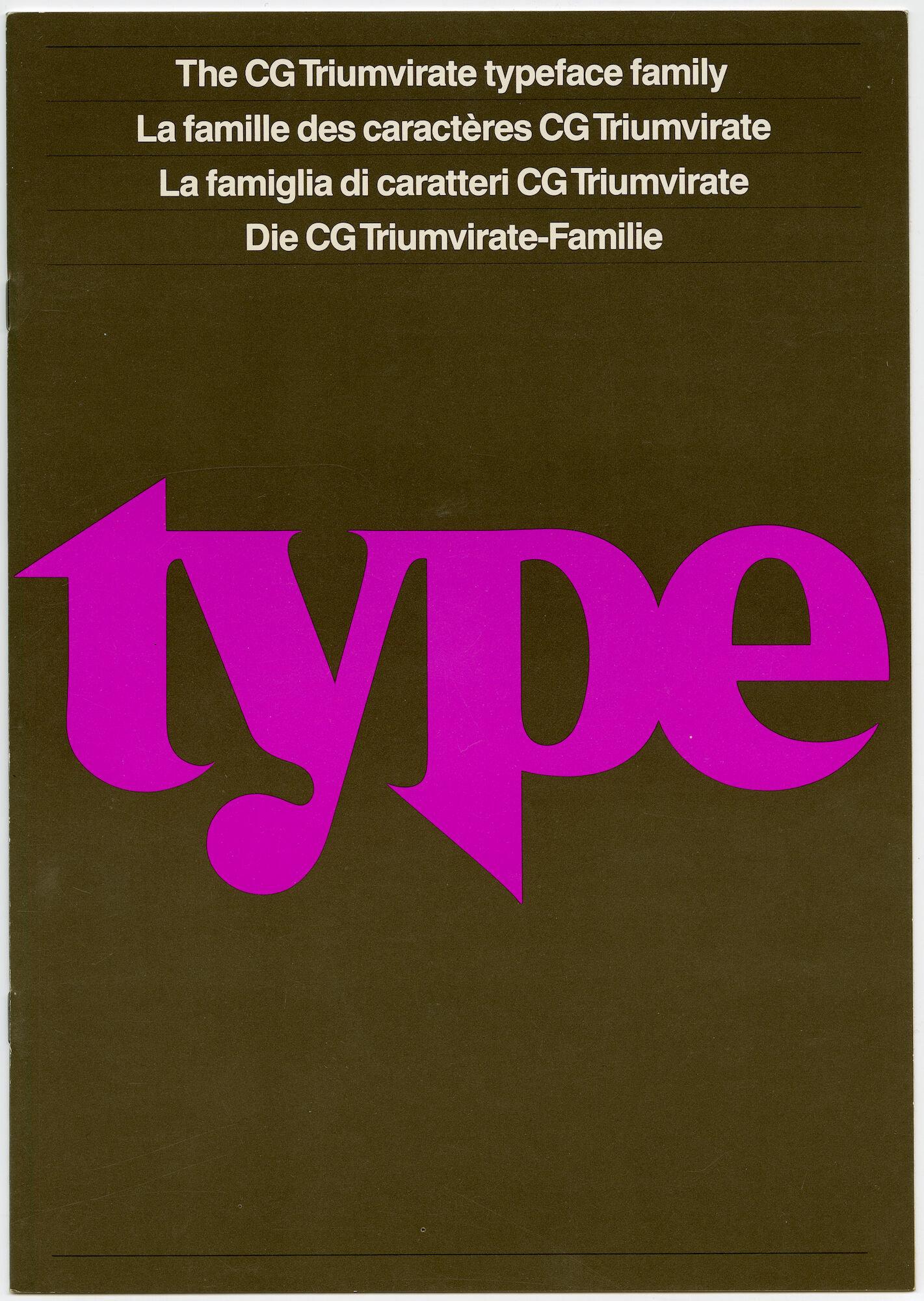 Letterproef met lettertypes van de familie CG Triumvirate
