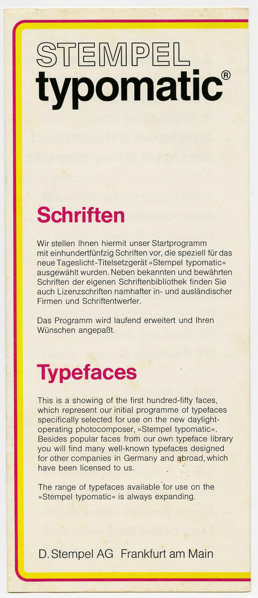 Letterproef met lettertypes voor Typomatic