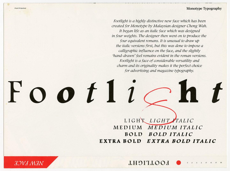 Letterproef van het lettertype Footlight