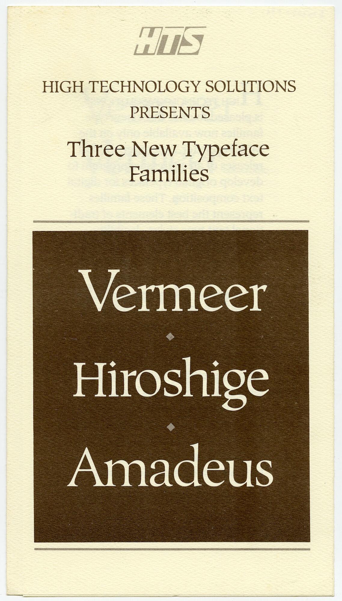 Letterproef met lettertypes  Vermeer, Hiroshige en Amadeus