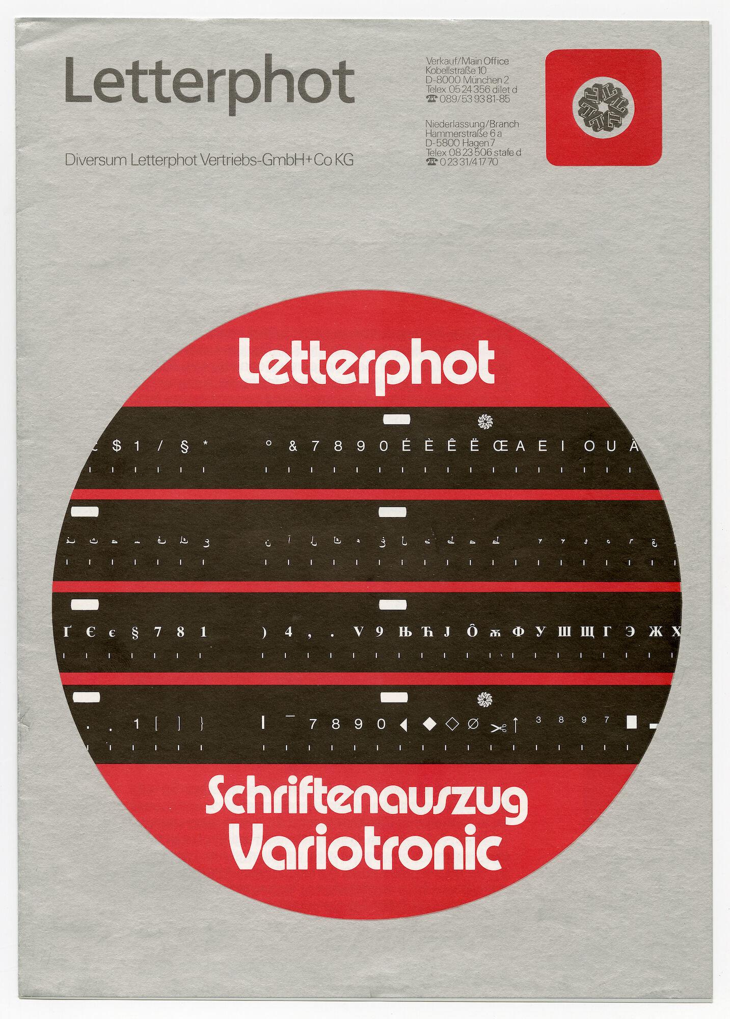 Letterproef met lettertypes voor Letterphot Variotronic