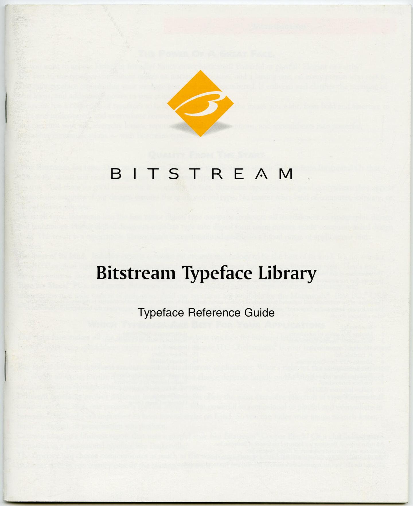 Letterproef met lettertypes uit de Bitstream typeface library