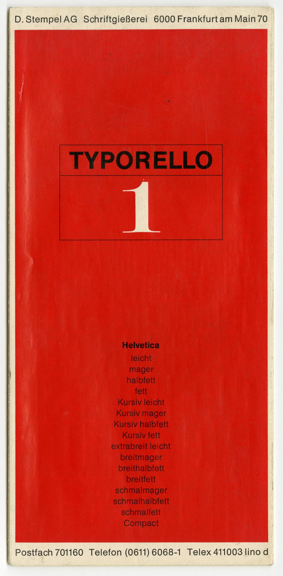 Letterproef met het lettertype Helvetica voor Linotype