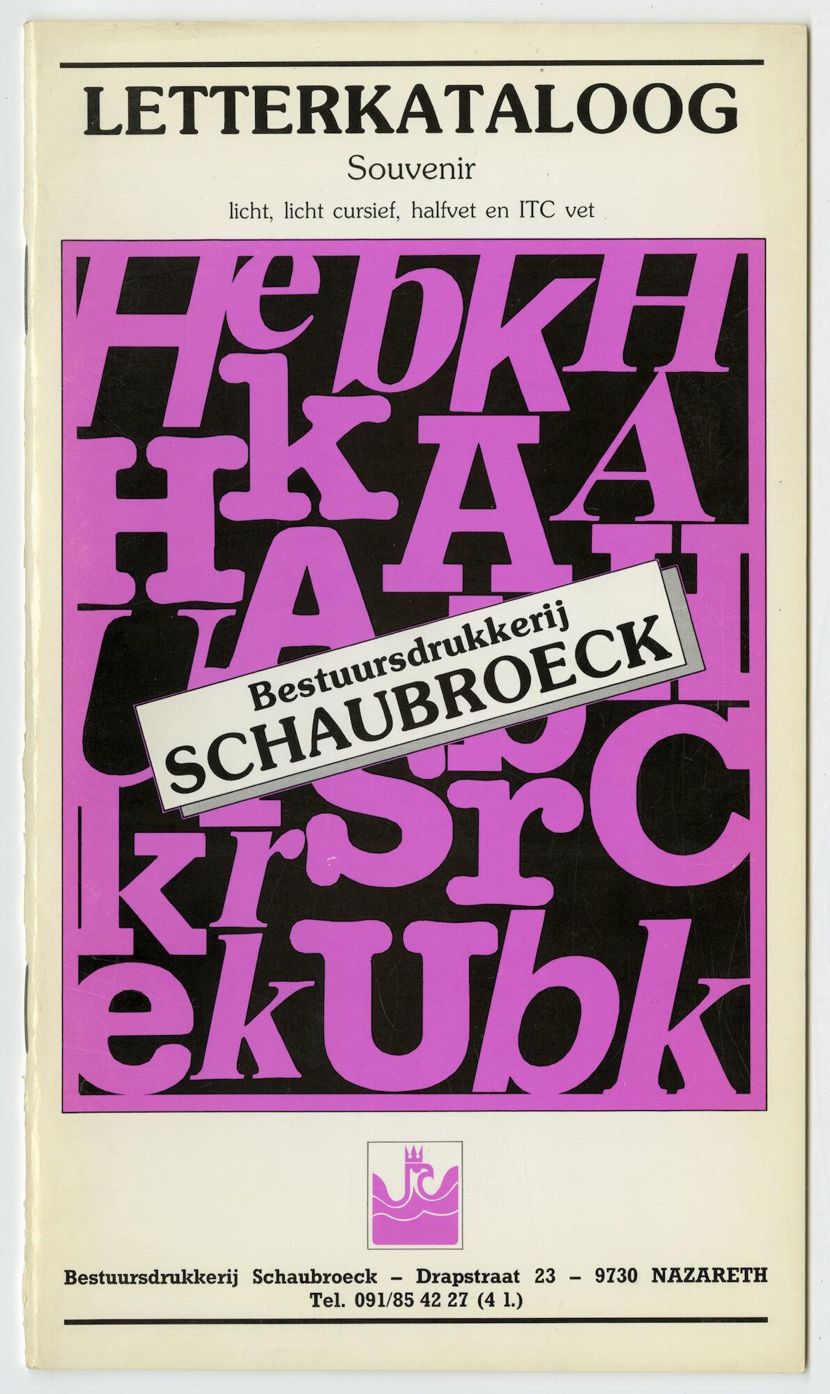 Letterproef met het lettertype Souvenir