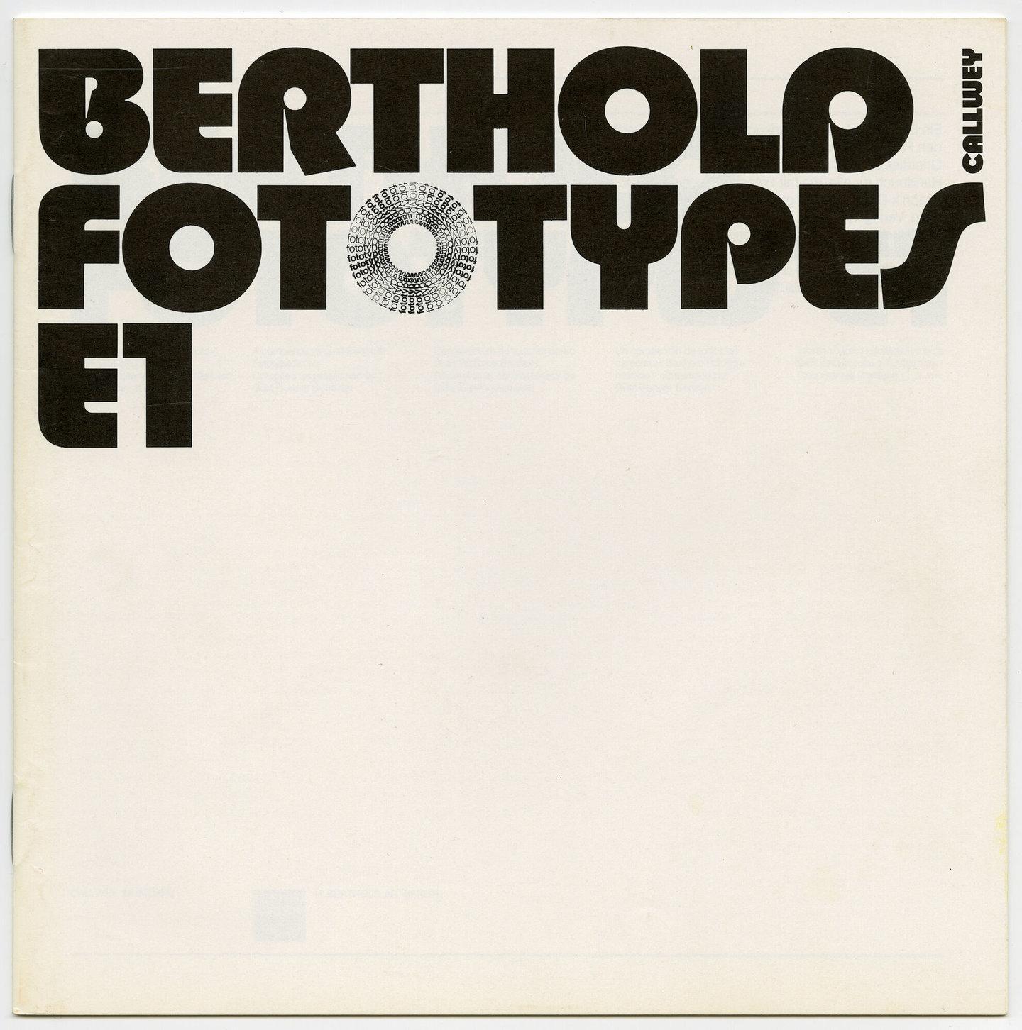 Letterproef met lettertypes voor Berthold Fototypes E1