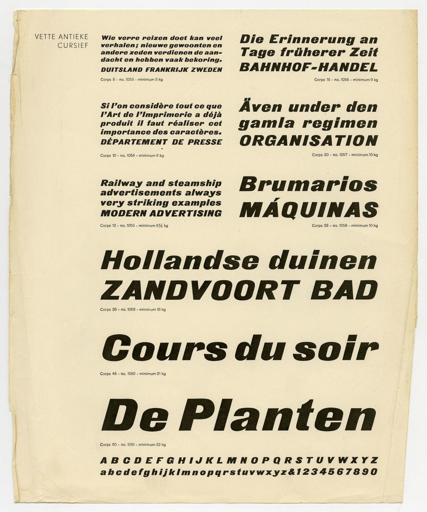 Letterproef met het lettertype Antieke van Plantin