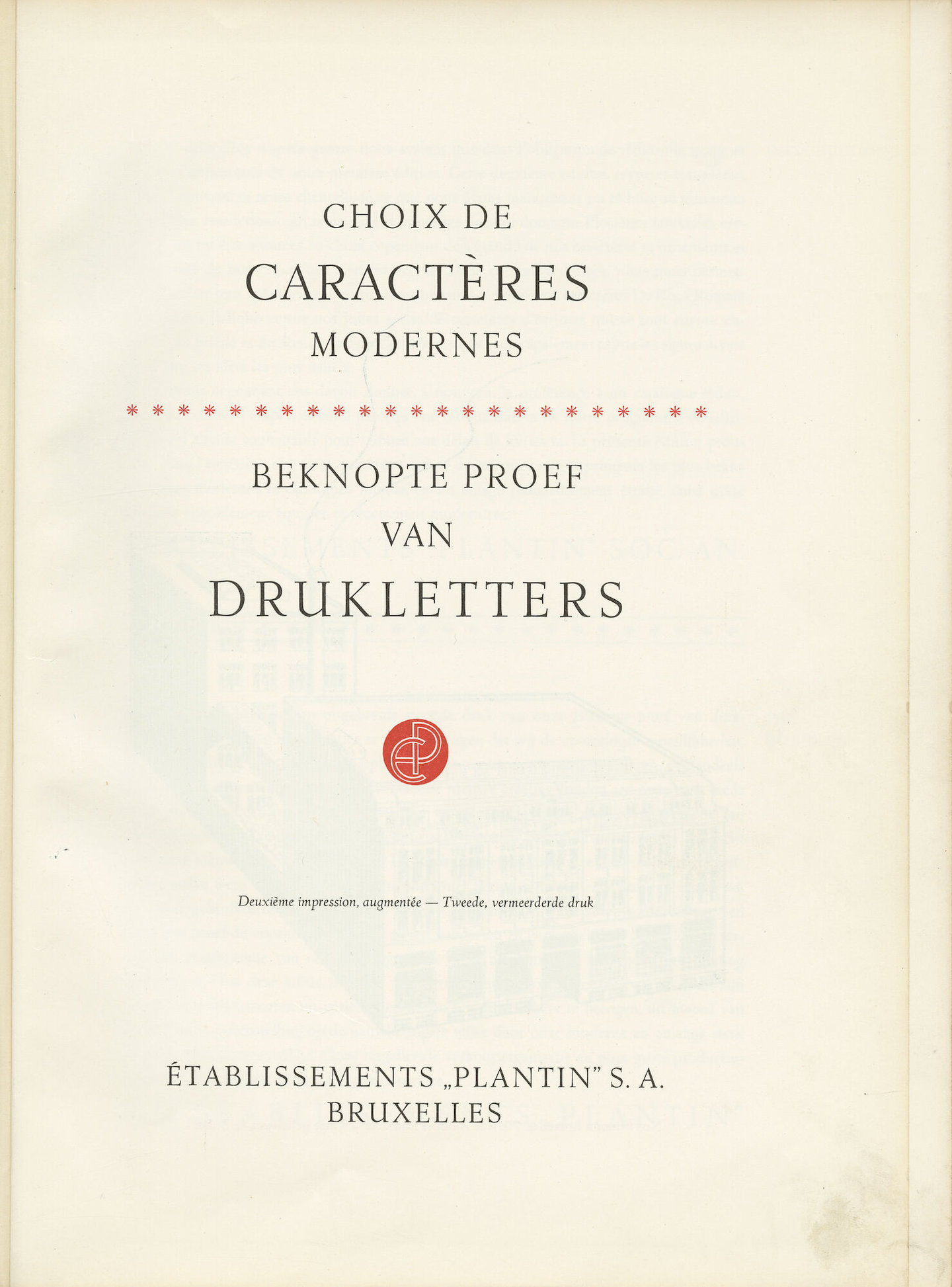 Letterproefboek 'Beknopte proef van drukletters' van Plantin