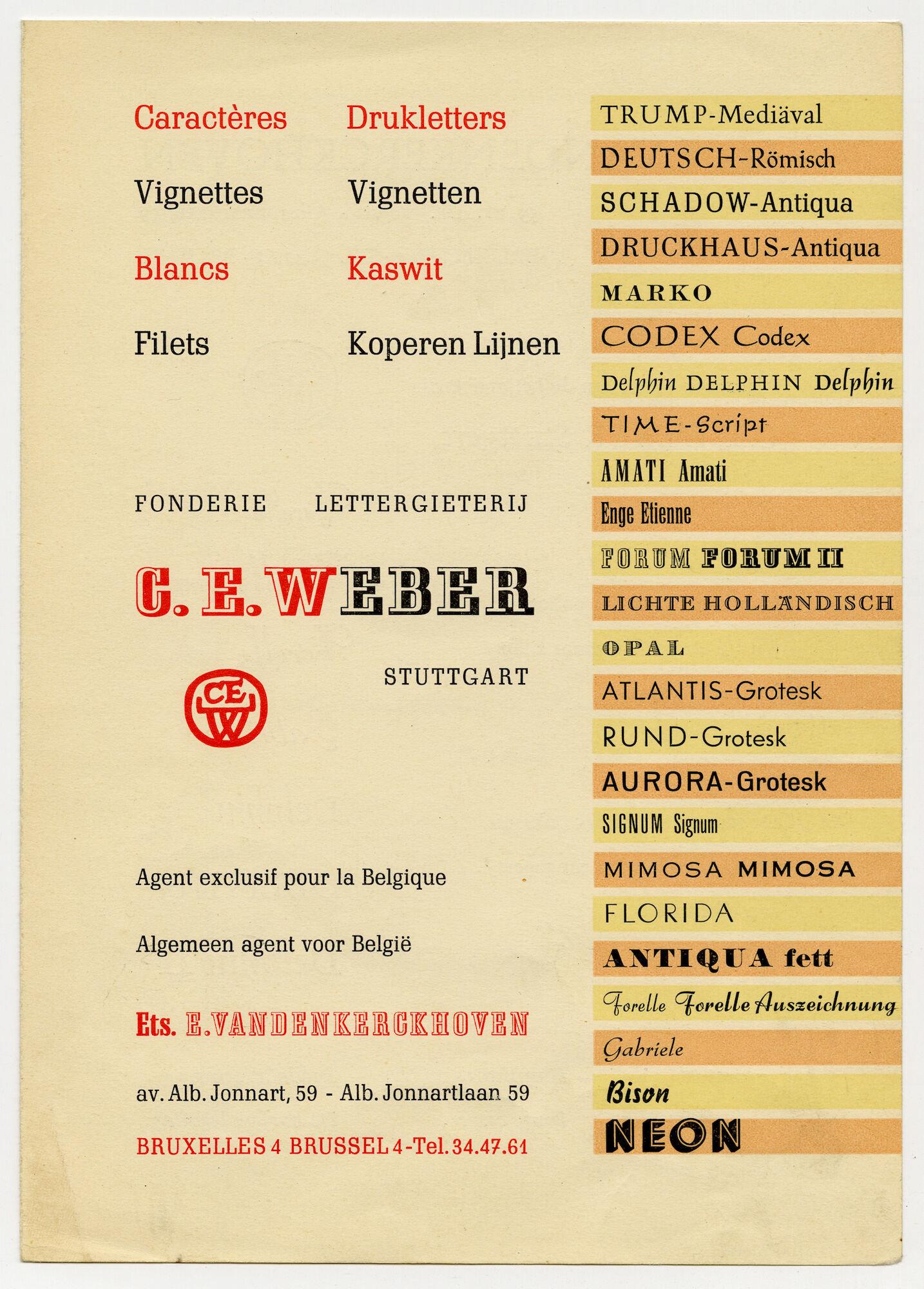 Reclame van Ets. E. Vandenkerckhoven voor letters van C.E. Weber