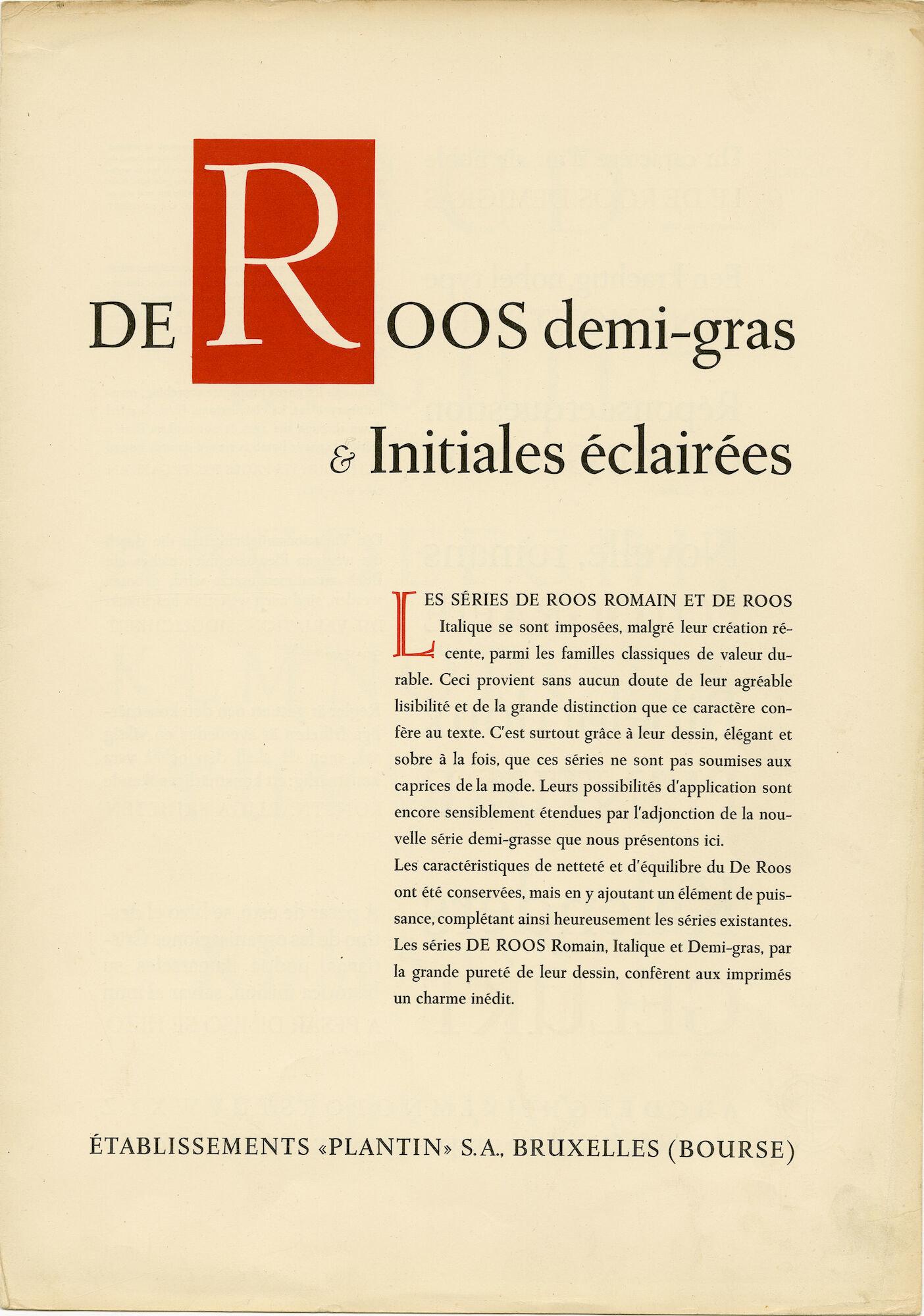 Letterproef met het letttertype De Roos van Plantin