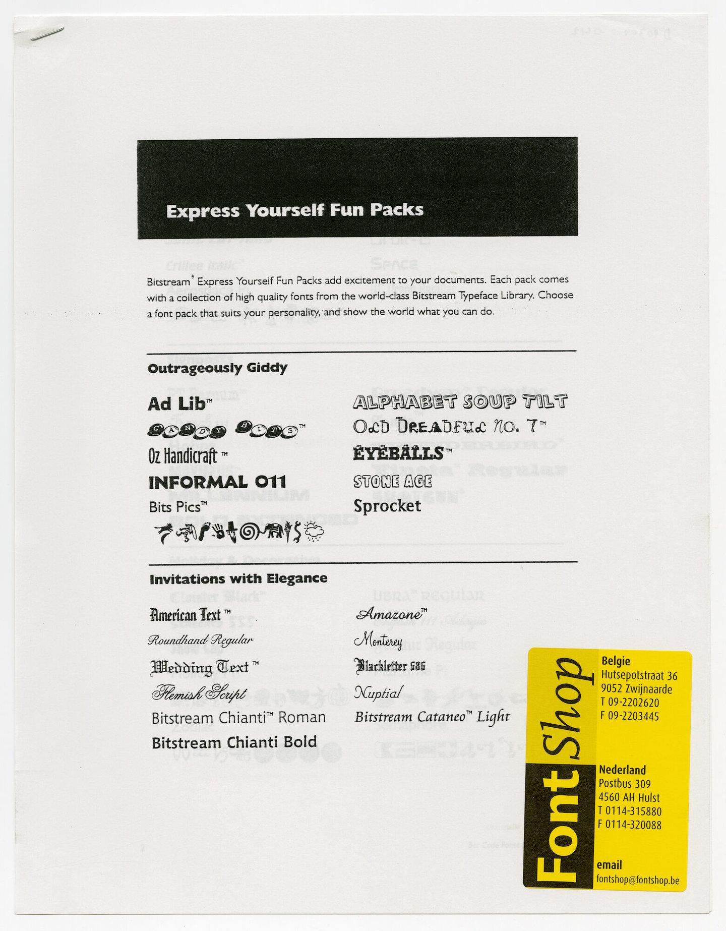 Letterproef met verschillende digitale lettertypes van Bitstream