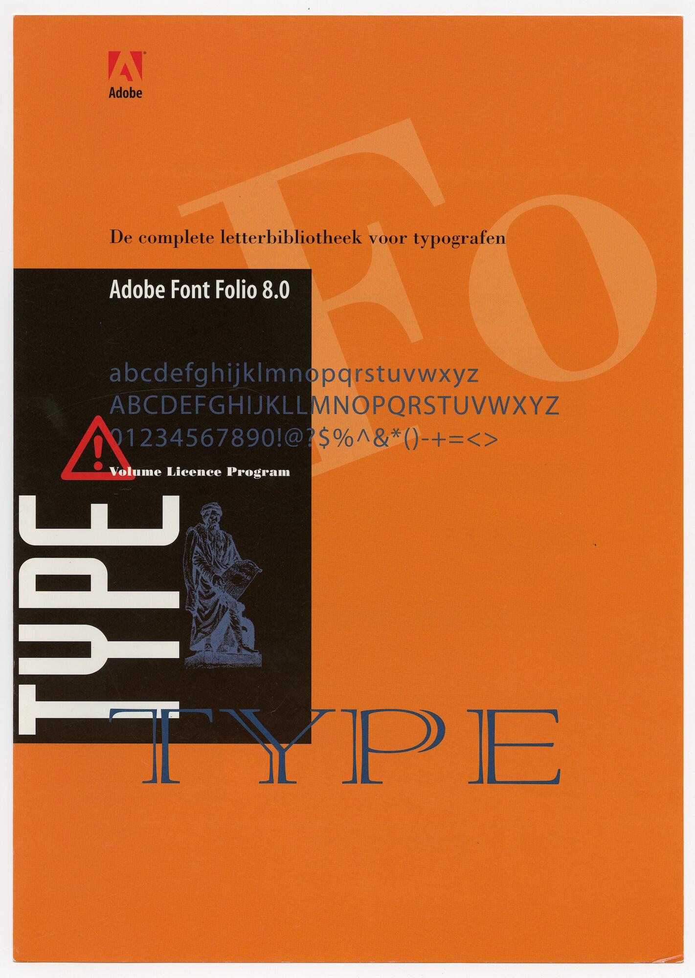 Reclamefolder voor Adobe Font Folio 8.0