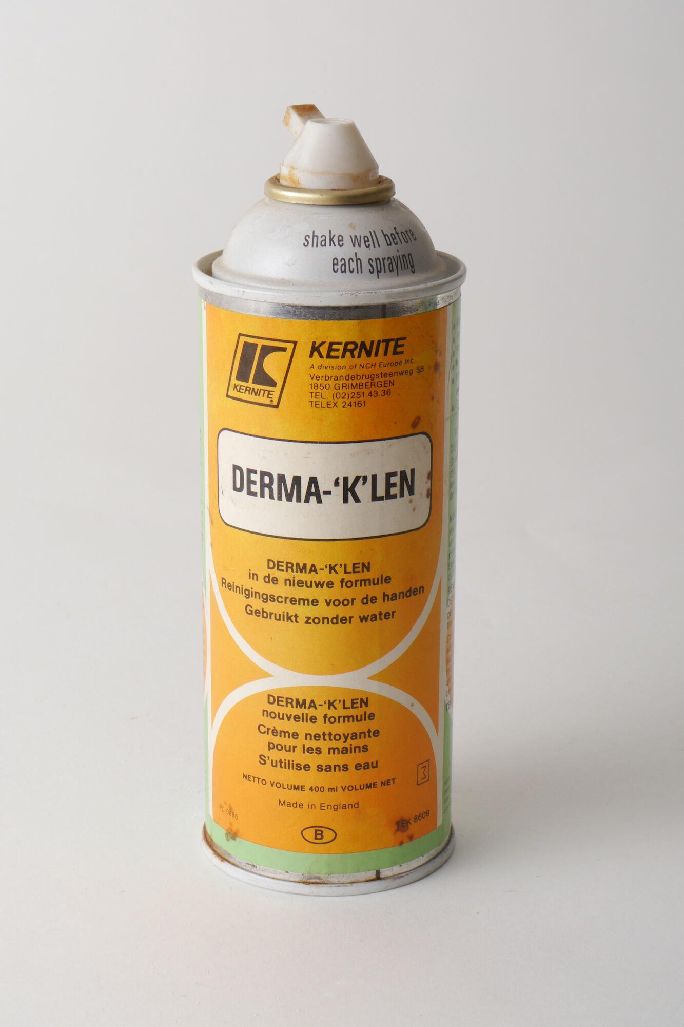 Spuitbus met reinigingscrème van het merk Derma-'K'len
