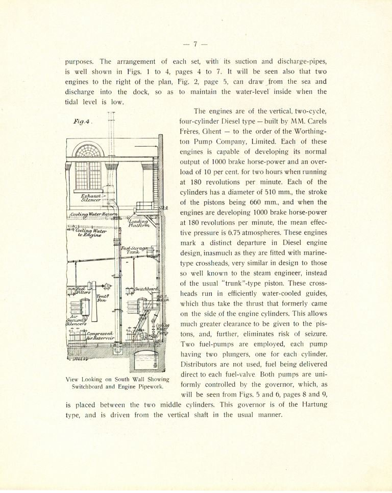 Informatieve brochure waarin de inrichting van het het pompstation van Gladstone Dock te Liverpool voorgesteld wordt