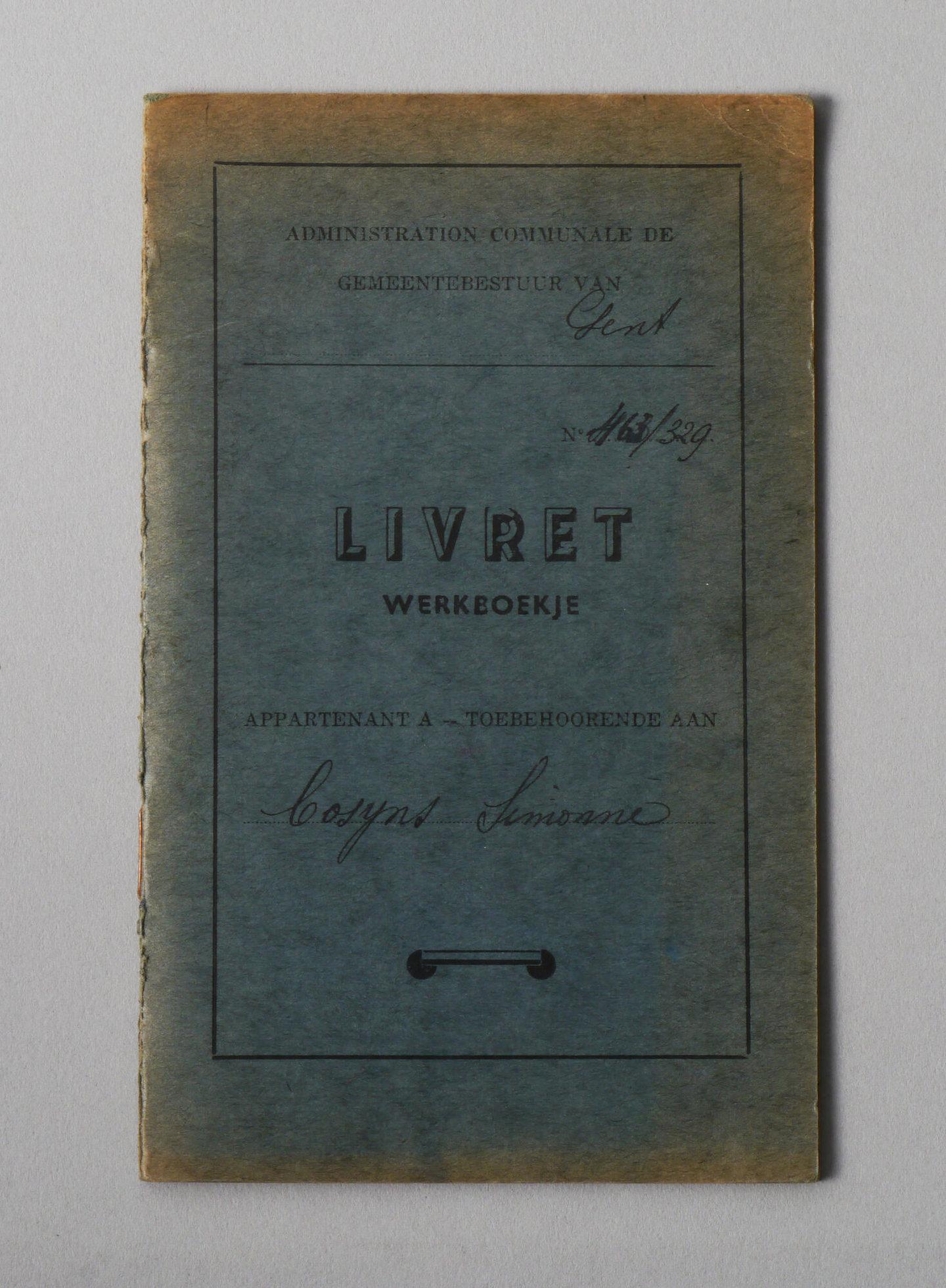 Werkboekje van Simonne Cosyns