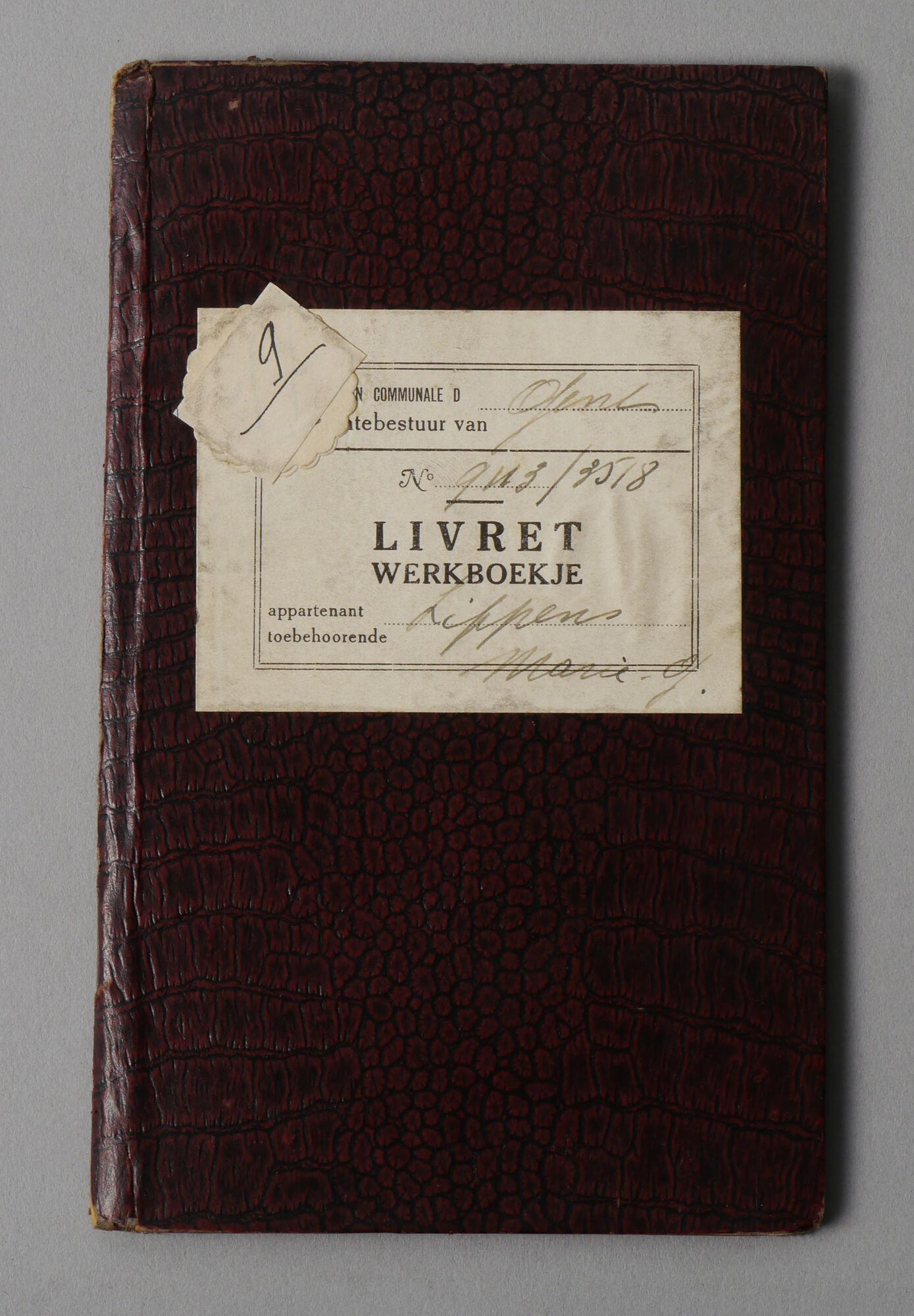 Werkboekje van Maria Georgette Lippens