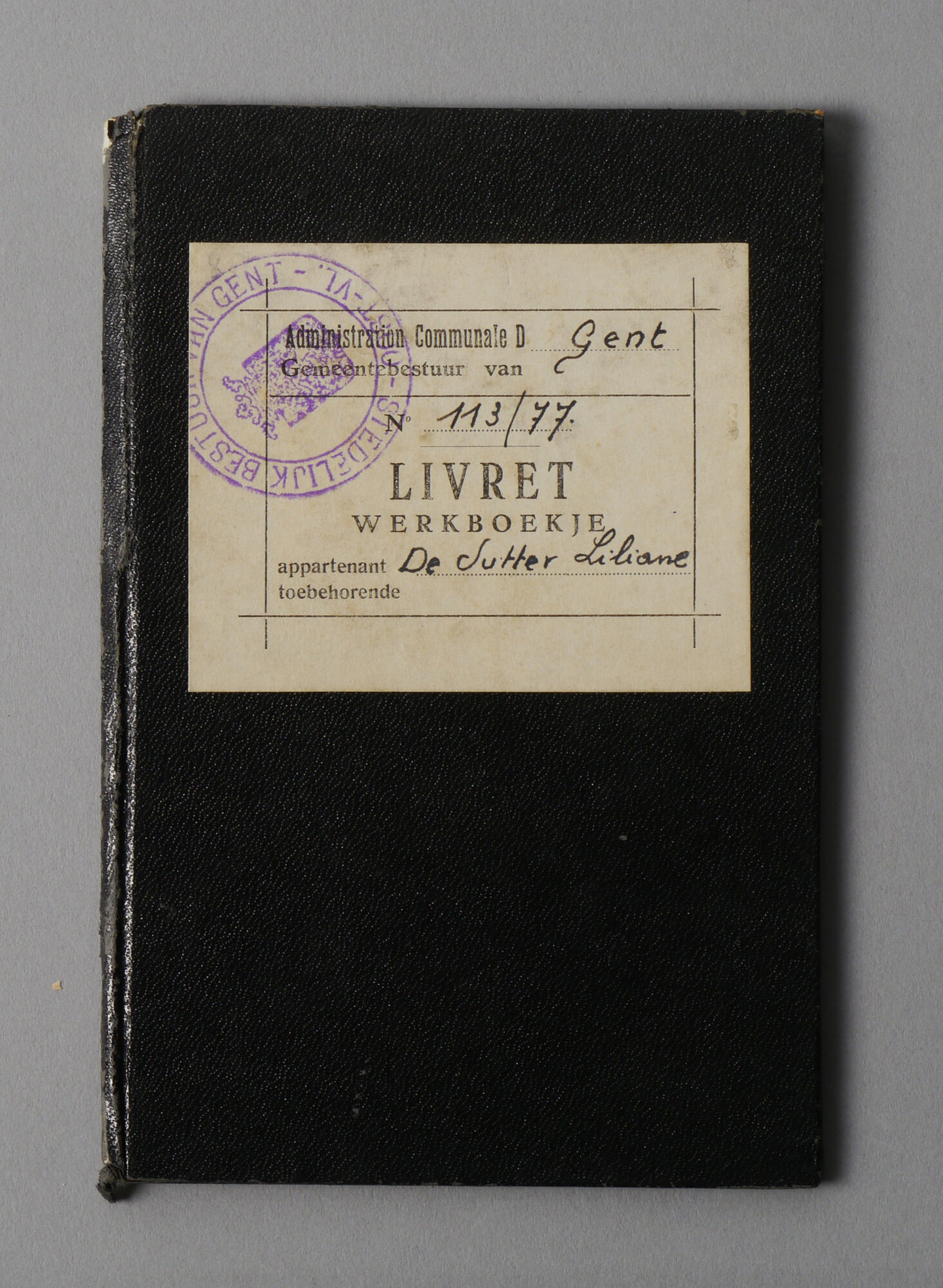 Werkboekje van Liliane De Sutter